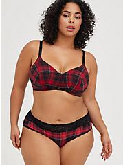 Lightly Lined Wirefree Bra - Plaid Red with 360° Back Smoothing™, NY PLAID, alternate
