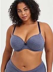 Lightly Lined T-Shirt Bra - Heather Blue with 360° Back Smoothing™ , HEATHER BLUE  NAVY, hi-res