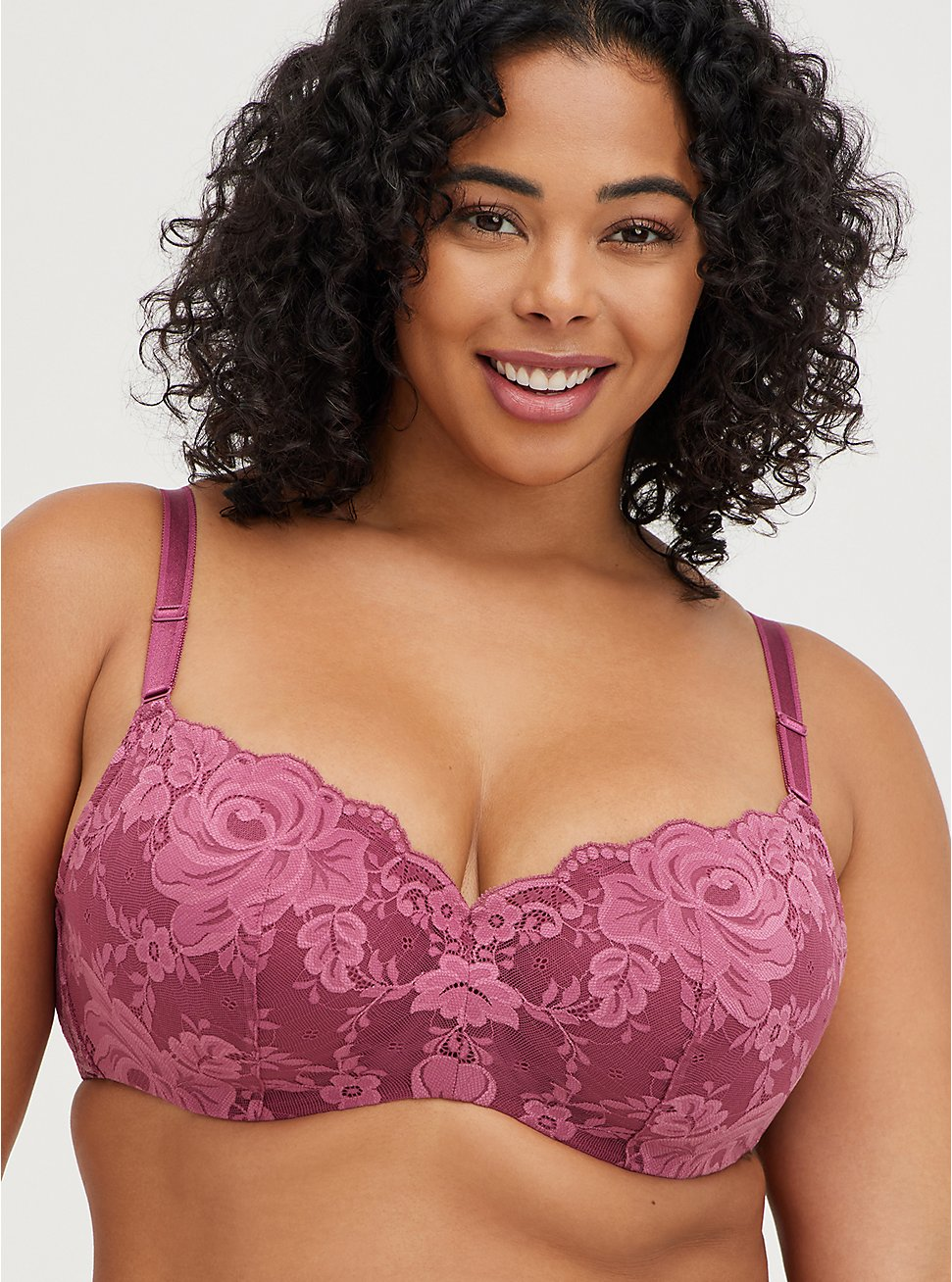 Plus Size Full Coverage Balconette Bra - Lace Pink with 360° Back Smoothing™ , VIOLET QUARTZ, hi-res