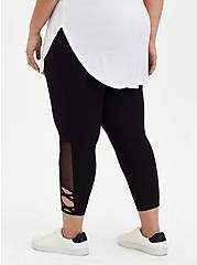 Inset Side Crop Premium Legging - Black, BLACK, alternate