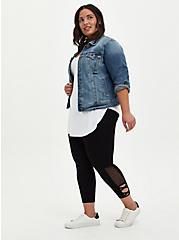 Inset Side Crop Premium Legging - Black, BLACK, hi-res