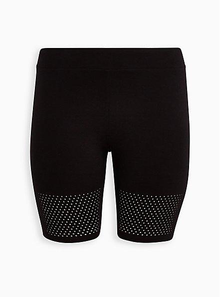 Black Laser Dot Hem Bike Short, BLACK, hi-res