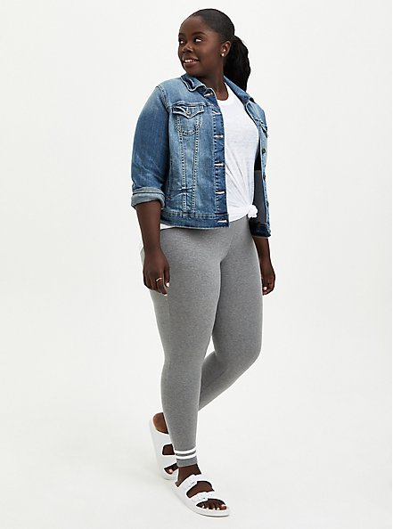 Premium Legging - Ankle Stripe Grey, GREY, alternate