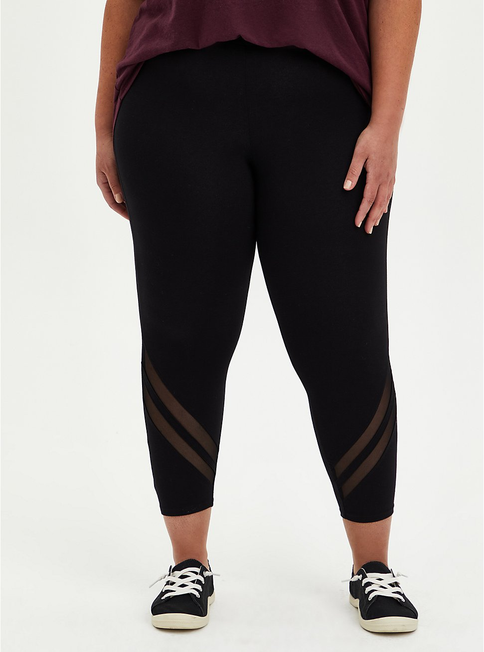 Crop Premium Legging - Mesh Back Stripe Black, BLACK, hi-res