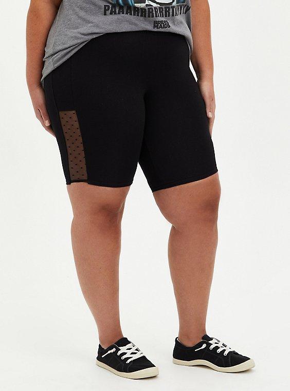 Black Mesh Side Bike Short, BLACK, hi-res
