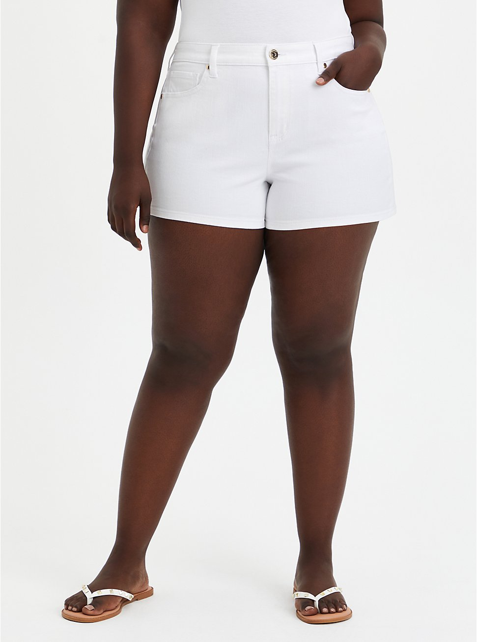 Plus Size High Rise A-line Shortie Short - Vintage Stretch White, , fitModel1-hires