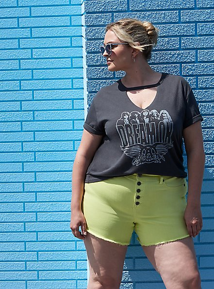 High Rise Midi Short - Vintage Stretch Yellow, SUNNY LIME, hi-res