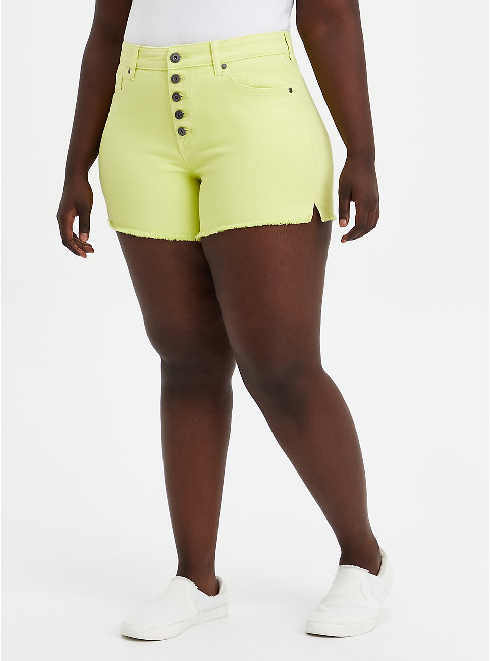 High Rise Midi Short - Vintage Stretch Yellow, , fitModel1-hires