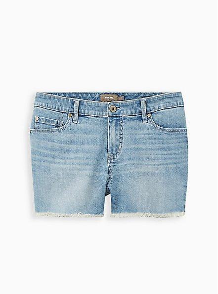 Plus Size Mid Rise Shortie Short - Vintage Stretch Eco Light Wash, TRIPPIN, hi-res