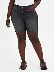 Plus Size Bombshell Bermuda Short - Super Soft Black Wash, , fitModel1-hires