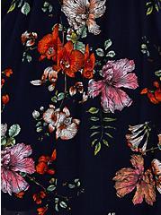 Handkerchief Dress - Crinkle Gauze Floral Navy, FLORAL - BLACK, alternate