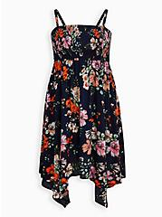 Handkerchief Dress - Crinkle Gauze Floral Navy, FLORAL - BLACK, hi-res