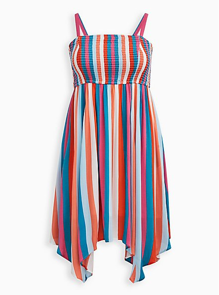 Plus Size Handkerchief Dress - Crinkle Gauze Multi Stripe , STRIPE - MULTI, hi-res
