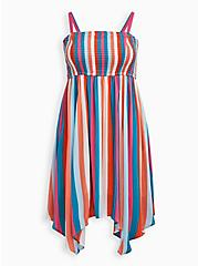Handkerchief Dress - Crinkle Gauze Multi Stripe , STRIPE - MULTI, hi-res