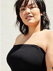 Black Strapless Crinkle Gauze Handkerchief Dress, DEEP BLACK, alternate