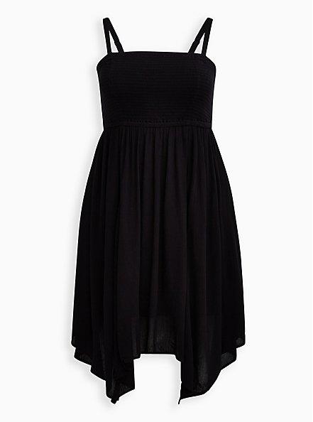 Black Strapless Crinkle Gauze Handkerchief Dress, DEEP BLACK, hi-res