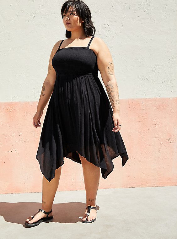 Black Strapless Crinkle Gauze Handkerchief Dress, , hi-res