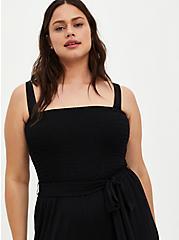 Black Super Soft Smocked Jumpsuit, DEEP BLACK, alternate