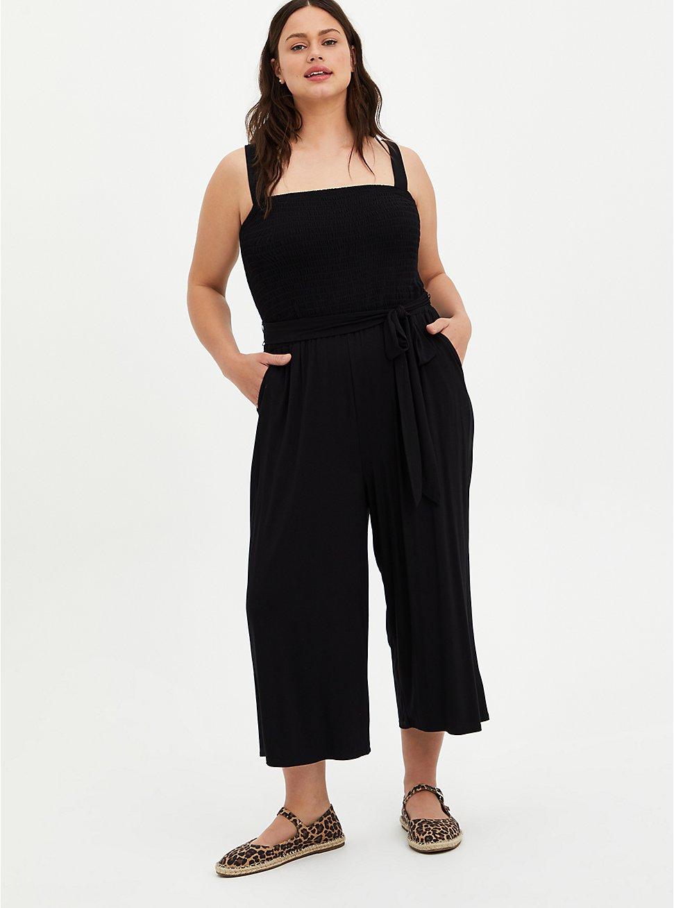 Black Super Soft Smocked Jumpsuit, DEEP BLACK, hi-res