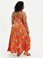 Plus Size Orange Floral Super Soft Trapeze Maxi Dress, FLORAL - ORANGE, alternate