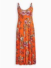 Plus Size Orange Floral Super Soft Trapeze Maxi Dress, FLORAL - ORANGE, hi-res