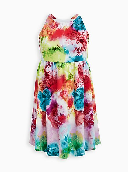 Multi Tie-Dye Knit Skater Dress, TIE DYE, hi-res