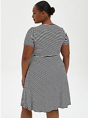 Twist Front Babydoll Dress - Super Soft Stripe Black & White, BLACK WHITE STRIPE, alternate