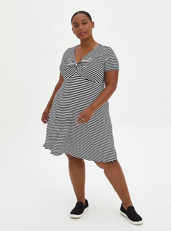 Twist Front Babydoll Dress - Super Soft Stripe Black & White, , hi-res