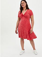 Pink Wash Super Soft Twist Front Babydoll Dress, TEABERRY, hi-res