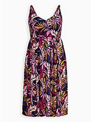 Navy Leaf Smocked Midi Dress, LEAVES - BLUE, hi-res