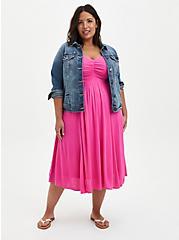 Pink Smocked Midi Dress, PINK GLOW, alternate