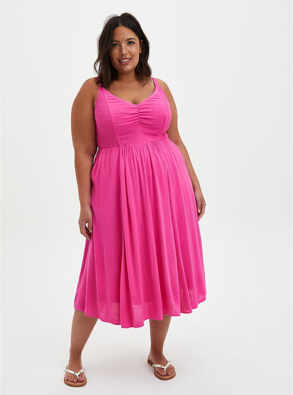 Pink Smocked Midi Dress, PINK GLOW, hi-res