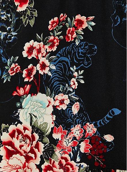 Black Floral Super Soft Smocked Waist Skater Dress, FLORAL - BLACK, alternate