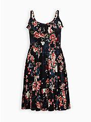 Black Floral Super Soft Smocked Waist Skater Dress, FLORAL - BLACK, hi-res