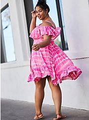 Pink Tie-Dye Cold Shoulder Handkerchief Skater Dress, TIE DYE-PINK, alternate