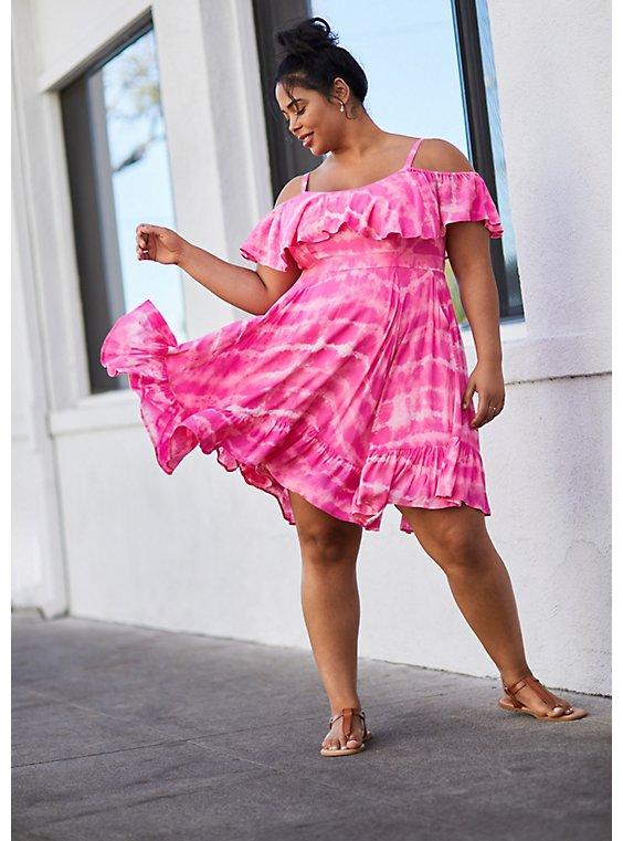 Pink Tie-Dye Cold Shoulder Handkerchief Skater Dress, , hi-res