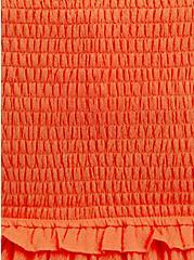 Smocked Tiered Midi Dress - Textured Rayon Orange, , alternate