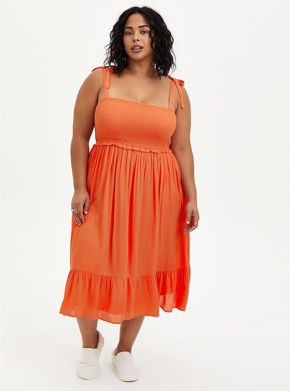 Smocked Tiered Midi Dress - Textured Rayon Orange, , hi-res