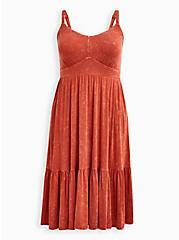 Tiered Midi Skater Dress - Super Soft Orange Wash, ORANGE, hi-res
