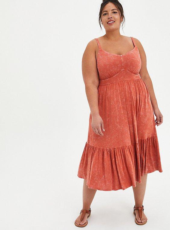 Tiered Midi Skater Dress - Super Soft Orange Wash, , hi-res