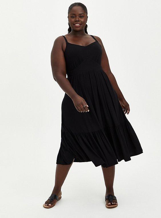 Tiered Midi Skater Dress - Super Soft Black, , hi-res