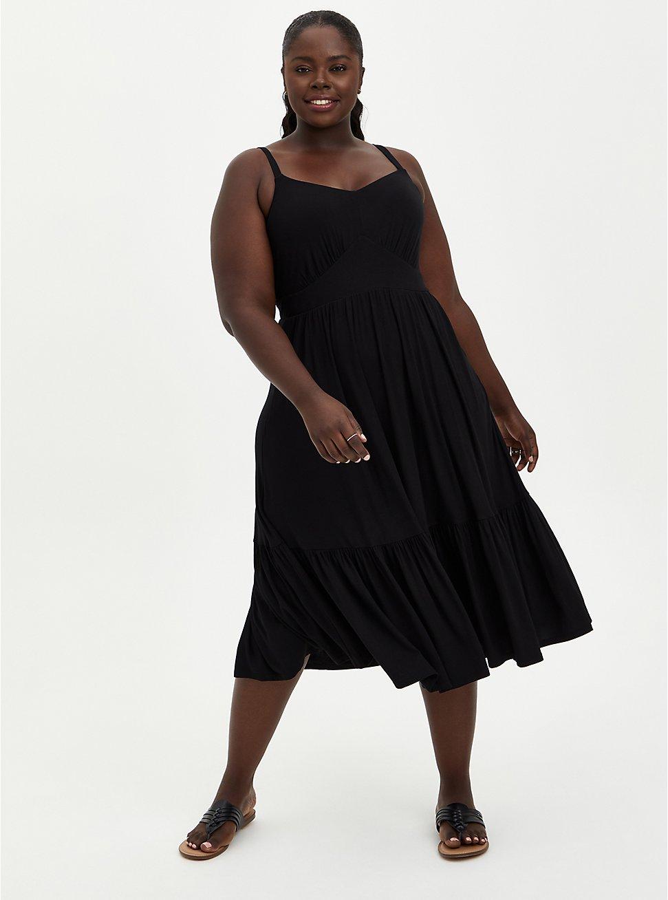 Tiered Midi Skater Dress - Super Soft Black, DEEP BLACK, hi-res