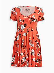 Plus Size Sweetheart Fit & Flare Dress - Super Soft Coral Floral, FLORALS-CORAL, hi-res