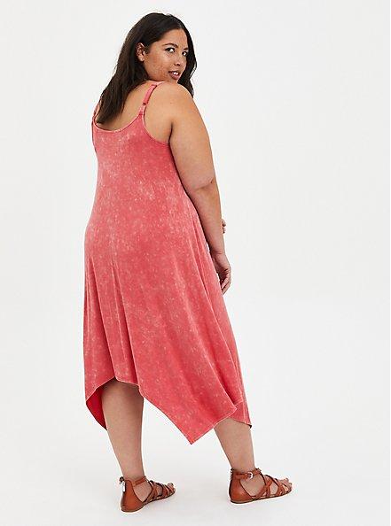 Plus Size Jersey Handkerchief Dress - Pink Wash, TEABERRY, alternate