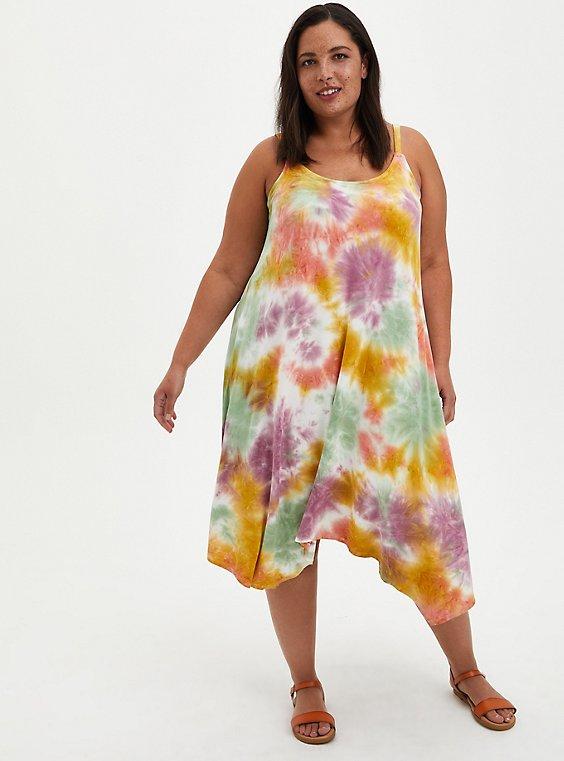 Jersey Handkerchief Dress - Multicolored Tie-Dye, TIE DYE, hi-res