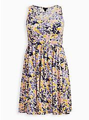 Skater Dress - Slub Lilac Floral, FLORALS-LAVENDER, hi-res
