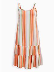 Trapeze Midi Dress - Challis White Stripe, STRIPE-WHITE, hi-res
