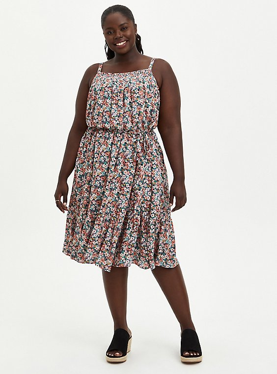 Trapeze Midi Dress - Gauze Floral, , hi-res