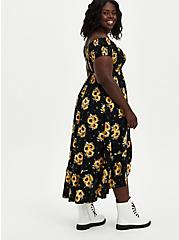 Plus Size Off-The-Shoulder Surplice Maxi Dress - Challis Black Sunflower, FLORAL - YELLOW, alternate