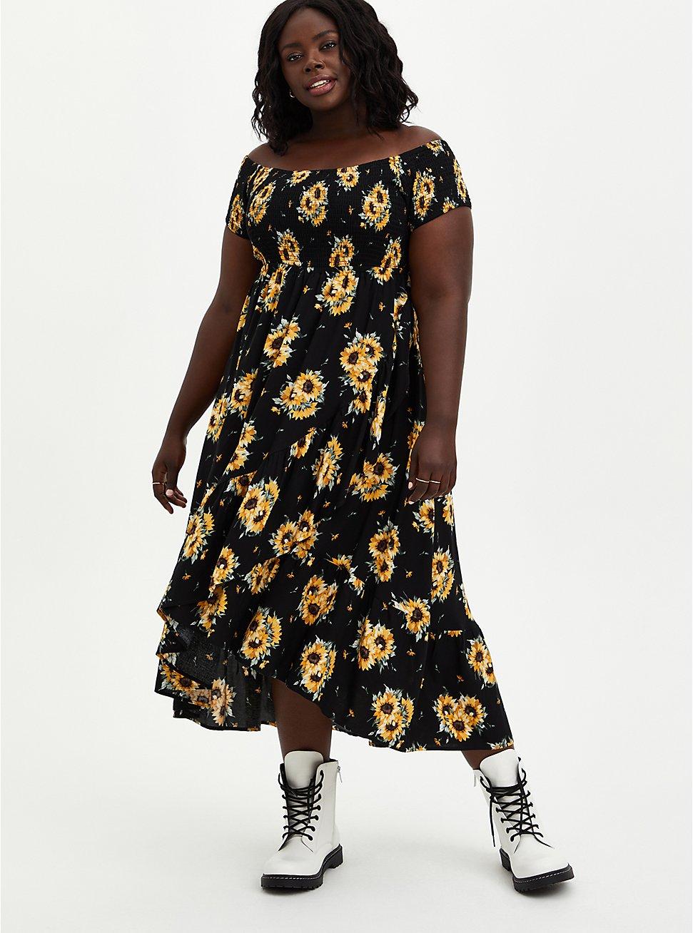 Plus Size Off-The-Shoulder Surplice Maxi Dress - Challis Black Sunflower, FLORAL - YELLOW, hi-res